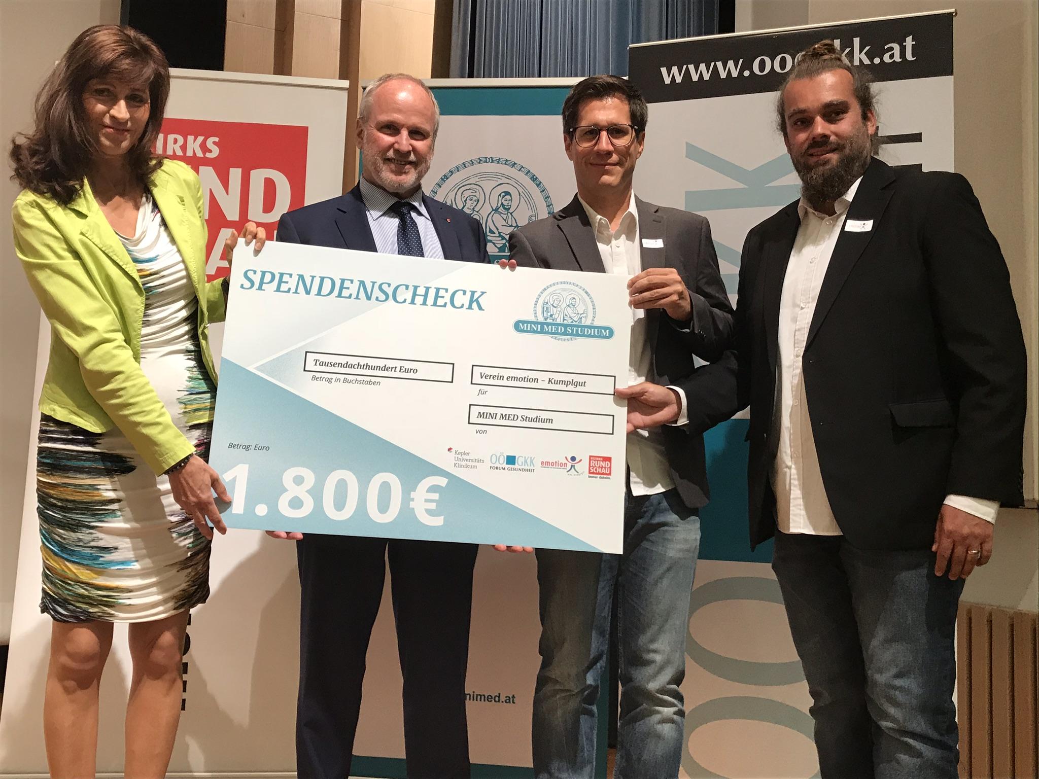 MINI MED und Kepler Universitätsklinikum spenden € 1.800,–
